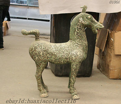 Folk Collection China FengShui Copper Bronze Silver Tang Horse Statue Sculpture