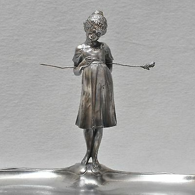 """WMF Art nouveau Business card tray """"Mother goose"""", no. 198, silver plated, Girl"""