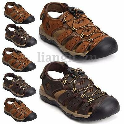 AU New Men's Leather Outdoor Hiking Walking Summer Beach Sandals Shoes Size