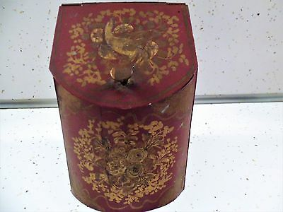 ANTIQUE TOLEWARE HAND PAINTED TEA / SPICE TIN BOX CANISTER Hinged ~ OLD