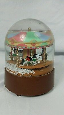 Vintage Willitts Carousel Merry Go Round Music Box Snow Globe -Horses Up & Down