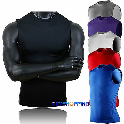 DRI-FIT Mens Body Compression Base Layer Sports Underwear Shirts Tank Tops Vest
