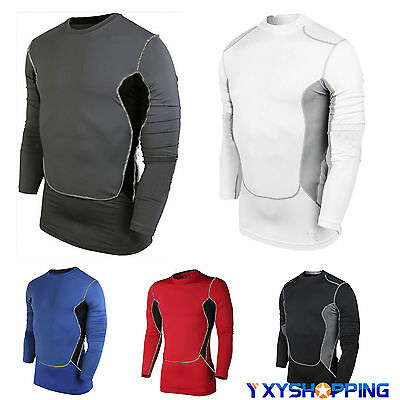 Mens Thermal Long Sleeve Shirts Compression Top Body Armour Baselayer Tshirts