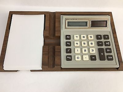 Solar Calculator Note Paper Wood Tray Vintage Office Supply