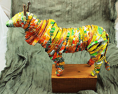 African Art: Bull  Orange Soda Cans Recycled South Africa.  Stand Included