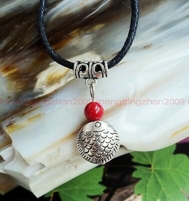 Original handmade Tibet silver fish red coral beads charm pendant necklace