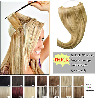"""New Body Wave Invisible Wire Wire Halo Hair Extensions 100% Remy Human Hair 16"""""""
