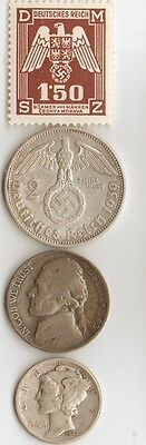 -*free *ww2 -*german  EAGLE stamp-  + *WWII *german SILVER  EAGLE coin+