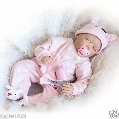 "Lovely Sleeping Newborn Girl Boy 22"" Soft Silicone Realistic Baby Reborn Dolls"