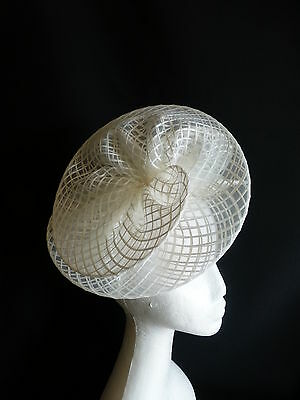 White Fascinator Ruffles Hat Races Wedding Melbourne Cup Derby Day