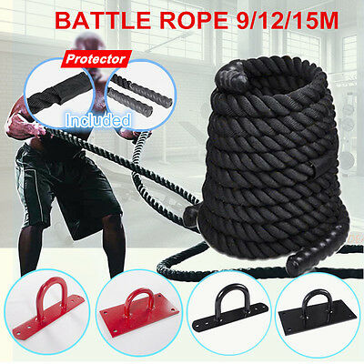 9/12/15m Battle Rope Strength Training Home Gym Exercise Fitness /Anchor&Screws
