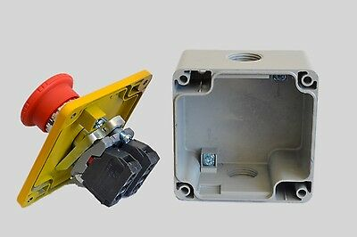 Metal Emergency Stop x5, switch electrical 12V 24V safety, e-stop telemecanique