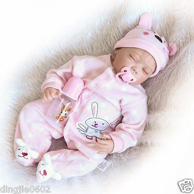 "Lifelike 22"" Handmade Soft silicone Reborn Newborn baby doll Sleeping playmate"