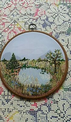 Vintage Embroidered Floral Wall Hanging