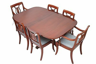 Mahogany Double Pedestal Table w/6 Harp Back Chairs & 3 Leaves