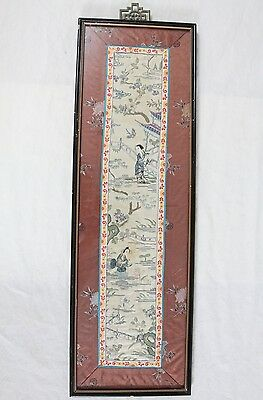 Vintage Antique Chinese Silk Embroidery Panel Framed Women Water Trees Floral