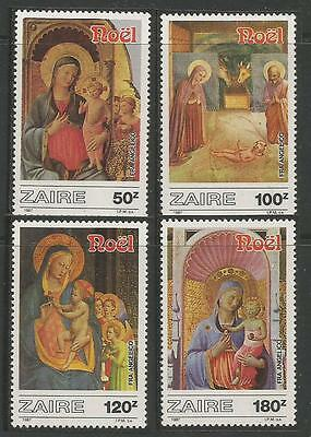ZAIRE Paintings by Fra Angelico CHRISTMAS  NAVIDAD** 1987 MNH set.