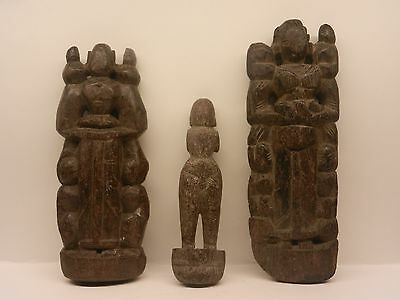 1800s Santique Antique Rare Hand Carved Wooden Putali Figures & Doll Collection