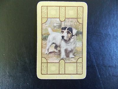 Swap playing card x 1 Vintage Linen Dog, Gold detailing