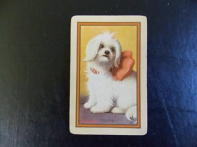 "Swap playing cards 1 Vintage Linen Narrow Named Dog  ""Toots"""