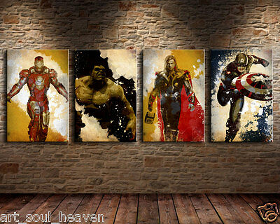 Oil Painting HD Print Wall Decor Art on Canvas The Avengers 4pcs Unframed
