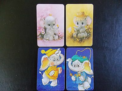 Swap playing cards x 4 -  2 pairs 70's Elephants