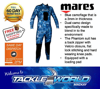 MARES Diving / Spearfishing CAMO WETSUIT Phantom 3mm Steamer TACKLE WORLD