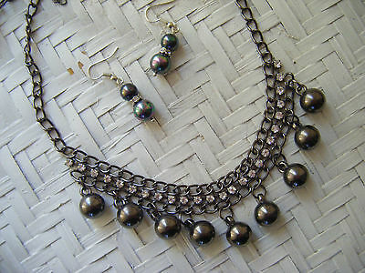 Charcoal Pearl & Crystal Necklace And Earring Set-New