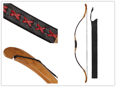30lbs Chinese Handmade Archery Hunting Black Cow Leather Longbow Recurve Bow