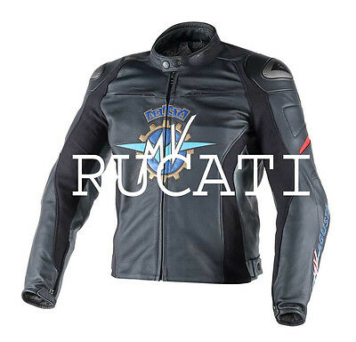 2016 Mv Agusta Black  Leather Motorcycle Jacket 100% Cowhide Leather
