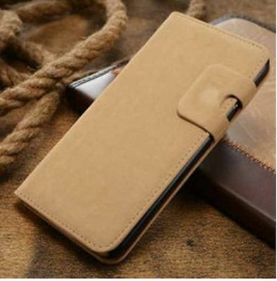 L-Brown Magnetic Flip Wallet Swede Leather Case For Samsung Galaxy S5 {{nj216