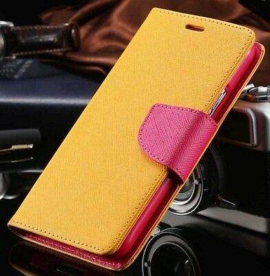 Luxury Mercury Magnetic Yellow & Pink Flip Case  For Galaxy Note4 Edge {{nj84