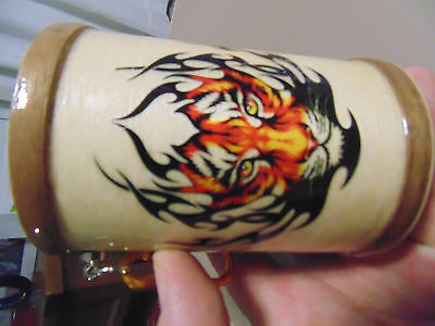 Wooden Can Tinnie Cooler Evil Cat Panther Tiger, insulated
