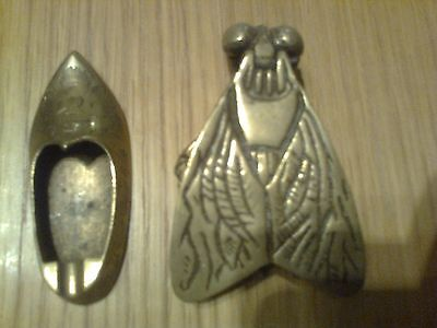 Vintage brass fly ash tray and shoe ash tray early 1900.s