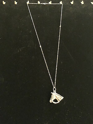"""VINTAGE STERLING SILVER NECKLACE """"HORSE HEAD BUST"""" PENDANT, VG COND - APPROX 7g"""