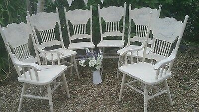 Set 6 High Back Vintage Style Shabby Chic Kitchen Dining Chairs  in Annie Sloan