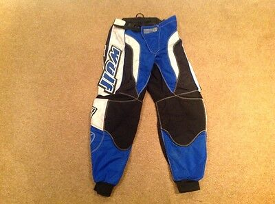 "Mens Wulfsport Pants Size 30"" Waist Blue, Black & White Motocross Trousers"