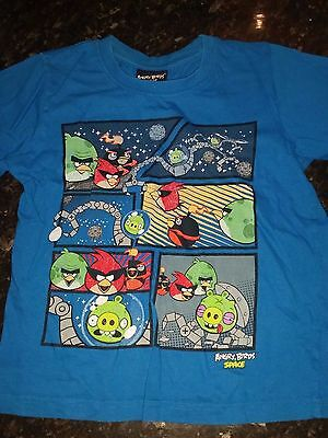 Boys M&Co Angry Birds In Space T Shirt Blue Short Sleeve Cotton 7-8 years
