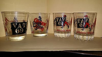 Mixed lot of 4 Labeled Scotch Whiskey Glasses Johnny Walker,Haig,Dewars etc.
