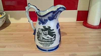 Antique Flow Blue & White Large Pottery Jug Great Exhibition Crystal Palace 1851