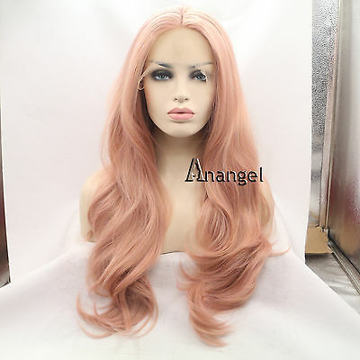 Lace Front Wig Women's Pink Wavy Handmade Heat Resistant Synthetic Party Hair