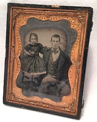 c.1850s Quarter Plate DAGUERREOTYPE w/ Tint - Young Father & Daughter