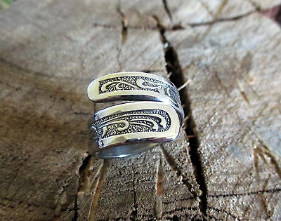 Stunning Handcrafted Stainless Steel  Rose Bypass Spoon Ring Size 8  BSR91