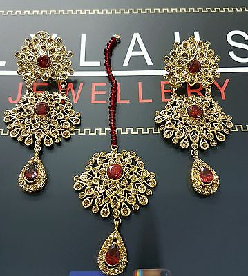 Indian fashion jewellery maroon earrings- GOLD PLATED EARRINGS bollywood
