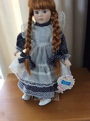 BEAUTIFUL Promenade collection LITTLE GIRL PORCELAIN DOLL WITH STAND