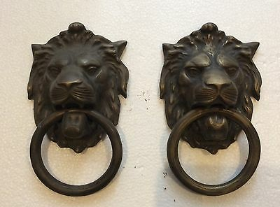 beautiful pair of brass knocker, old Lion, large, solid colonial Peru