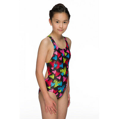 NEW Maru Girls Hearts Sparkle Swimsuit Swimming Costume