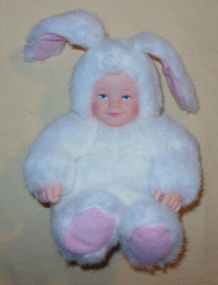 """Rare Vintage 1997 Anne Geddes Stuffed Beanie Easter Bunny Style Doll 9"""" Toy Nice"""