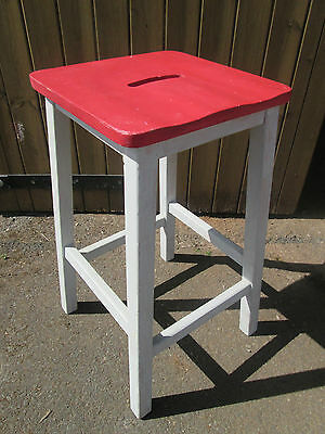 Vintage wooden School Science Lab Stool Chair industrial retro breakfast bar