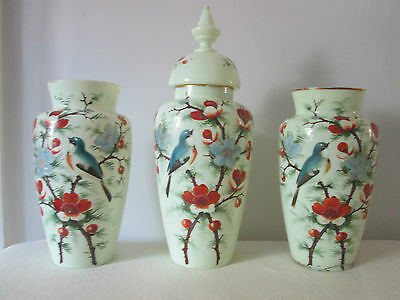 Trio Victorian Antique Enamelled Opaline French Glass Vases Garniture Oriental
